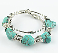 Vintage Look Antique Silver Plated Alloy Irregular Turquoise Stone Adjustable Bracelet(1PC)