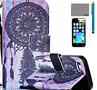 LEXY® Purple Dreamcatcher Pattern PU Full Body Leather Case with Screen Protector and Stylus for iPhone 5C