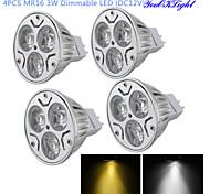 Spot Gradable / Décorative Blanc Chaud / Blanc Froid YouOKLight 4 pièces MR16 GU5.3(MR16) 3 W 3 LED Haute Puissance 300 LM DC 12 V