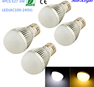 YouOKLight® 4PCS E27 3W 6*SMD5730 260LM White/ Warm White Light LED Energy saving High quality Globe Bulbs (AC100~240V)