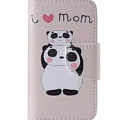 Superimposed Panda Painted PU Phone Case for iphone4/4S