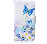 blauer Schmetterling Muster PU-Material Kartenhalterung iPod Touch 6.5