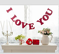 "Red Color"" I LOVE YOU"" Wedding Valentines Banner Sign with String"