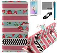 Coco fun® subiu padrão de listras padrão de pu estojo de couro v8 usb cabo, flim, caneta e stand para Samsung Galaxy S6 borda