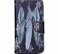 Blue Feathers Painted PU Phone Case for Wiko Lenny 2