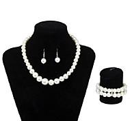 Korean Style Ball Shape Pearl Earring Necklace Bracelet Jewelry Set(White)(1Set)