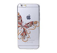 Latest  Butterfly Pattern Swarovski Diamond High Quality Laser Relief Touch Phone Case for iPhone 6plus / 6S plus
