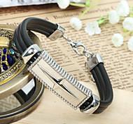 Men's PU Leather Cross Titanium Steel  Bracelet