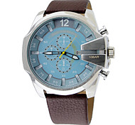 Men's Fashion Military Watch Multi Movement Quartz Leather Watch