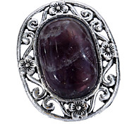 Vintage Look Antique Silver Plated Oval Hollow Amethyst Tiger Stone Adjustable Free Size Ring(1PC)