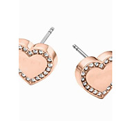 Romantic Heart-shaped High Polished Set Drill Stud Earrings