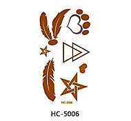 (1pcs) Gold And Silver Feathers Temporary Tattoo Stickers Flash Metallic Body Art Waterproof Tattoo Pattern HC5006