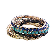 Fashion Drill Resin Beads Gold Plating Bracelet (6 Pcs A Set)