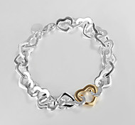"Fashion 925 Silver Sterling ""Gold Heart""Chain & Link Bracelets For Woman&Lady"