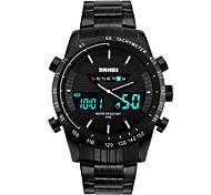 SKMEI Masculino Relógio Esportivo Relógio de Pulso DigitalLED Calendário Cronógrafo Impermeável Dois Fusos Horários alarme Relógio