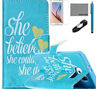 Coco fun® acreditar que podia padrão de capa de couro pu com cabo usb v8, flim, caneta e stand para Samsung Galaxy S6 borda
