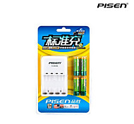 Pisen 4 Bay/Slot AA AAA Ni-MH Rechargeable Battery Charger Foldable AC Wall Plug with 4 2500mAh AA Batteries