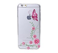 Latest Pink Butterfly Pattern Swarovski Diamond High Quality Laser Relief Touch Phone Case for iPhone 6plus / 6S plus