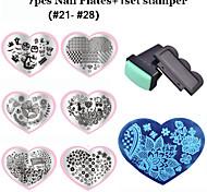 Flor - Dedo / Dedo del Pie - Otras Decoraciones - Metal - 7pcs nail plates+ 1set nail stamper and scraper - 5.6cm X 7.15cm - ( cm )