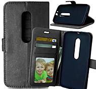 PU cuir carte portefeuille titulaire de luxe reposer le couvercle rabattable avec étui de cadre photo en moto g3 (couleurs assorties)