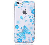 Blue Butterfly Pattern Waves Slip Handle TPU Soft Phone Case for iPhone 5C