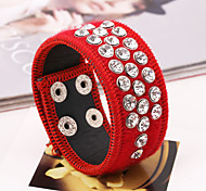 Wide Full Crystal Shining Red PU Leather Bracelets
