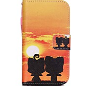 The New  Sunset Kitten Lanyard PU Leather Material Flip Card Cell Phone Case for Samsung Galaxy G530/G360