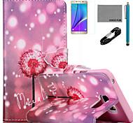 patrón de diente de león luciérnaga caja de cuero de la PU de coco Fun® con usb v8 cable, flim y lápiz para Samsung Galaxy Note 5