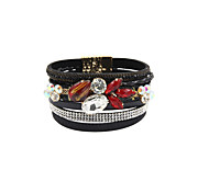 Fashion Women Stone Set Multi Row Leather Magnet Buckle Bracelet