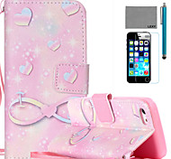 LEXY® Pink Romantic Pattern PU Full Body Leather Case with Screen Protector and Stylus for iPhone 5C