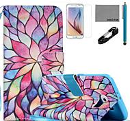 Coco fun® padrão pétala colorido estojo de couro pu com cabo usb v8, flim, caneta e stand para Samsung Galaxy S6