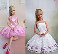 Barbie Doll Pink Lace Shining Stars Pattern Elegant Princess Dress