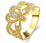 Fashion Generous Women's Hollow White Zircon Glod Plating Brass Statement Rings(Golden)(1Pcs)