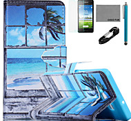 COCO FUN® Seascape in Window Pattern PU Leather Case with V8 USB Cable, Flim and Stylus for Samsung Galaxy A5