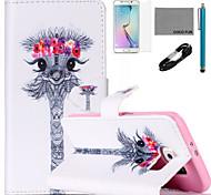 estojo de couro de coco padrão fun® guirlanda girafa pu com cabo usb v8, flim, caneta e stand para Samsung Galaxy S6 borda