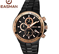 EASMAN Men Sport Watches Brand Date Quartz Watch 100M Waterproof Steel Chronograph Watches Black Men Sports Watches