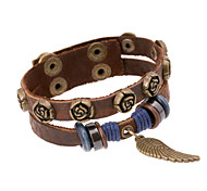 Punk Men's Double Layer Flower Feather Pure Handicraft Leather Wrist Bracelets