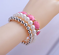 Korean  Pearl/Oval Resin/Beads Bracelet Suit