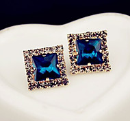 New Arrival Fashional Rhinestone Square Gem Earrings