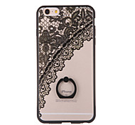 For iPhone 6 Case / iPhone 6 Plus Case with Stand / Ring Holder / Transparent / Pattern Case Back Cover Case Lace Printing Hard PCiPhone