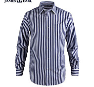 JamesEarl Men's Shirt Collar Long Sleeve Shirt & Blouse Blue - MC1ZC001667