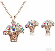 HUALUO®Baskets Crystal Earrings Necklace Set