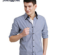 JamesEarl Men's Shirt Collar Long Sleeve Shirt & Blouse Blue - DA112046304