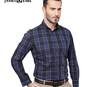JamesEarl Men's Shirt Collar Long Sleeve Shirt & Blouse Blue - DA112047104