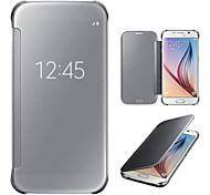 Для Samsung Galaxy S7 Edge с окошком / Зеркальная поверхность / Флип Кейс для Чехол Кейс для Один цвет PC SamsungS7 edge / S7 / S6 edge