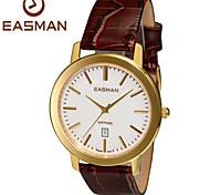 EASMAN Watch Shop Mens Genuine Leather Watches of Swiss Quartz Auto Date Sapphire Waterproof Gold Wrist Watch Cool Watch Unique Watch
