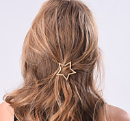 Women Fashion Simple Metal Stars Pattern Hairpin Hair Accessories Jewelry 1pc