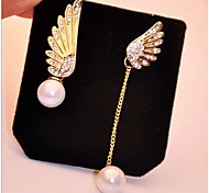 New Arrival Fashional Rhinestone Wings Pearl Earrings