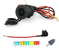 Iztoss 12V 24V Waterproof Cigarette Power Socket Car Motorcycle with 60cm cords Add-a-circuit blade Fuse holder medium
