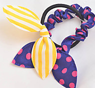 2pcs Candy Girl Sweet Style Fabric Rabbit Shape Hair Ties Kid's Hair Jewelry (Random Color)
